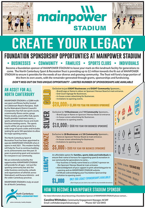 MainPower Stadium Sponsorship Opportunit