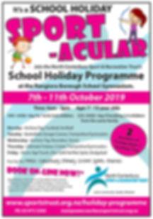 School Holiday Programme Advert Oct 2019