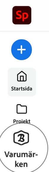 Knappen Varumärken i Adobe Spark