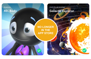 Mr Body and Galactic Explorer apps are no longer in the App Store but in the Merge Explorer app.