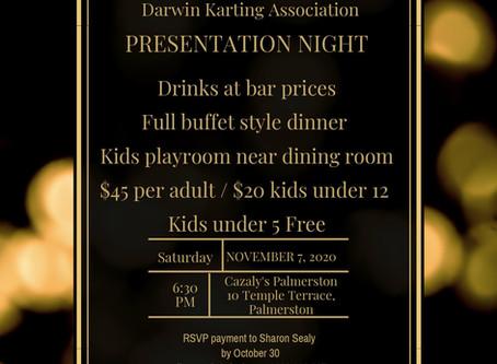 Presentation Night 7th November 2020