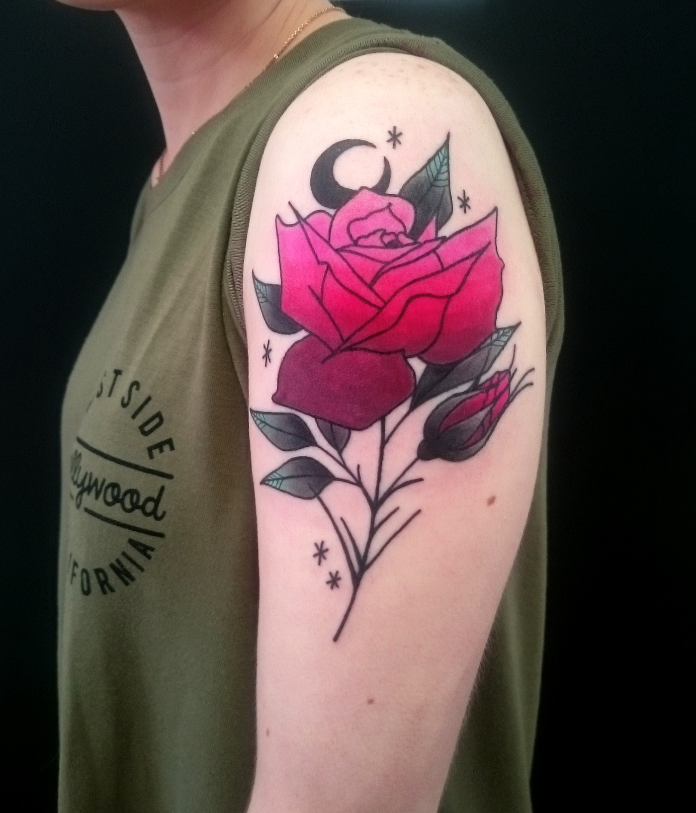neo trad rose tattoo