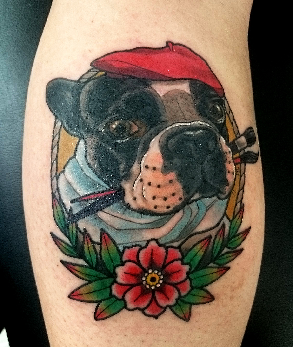 neo trad dog portrait tattoo