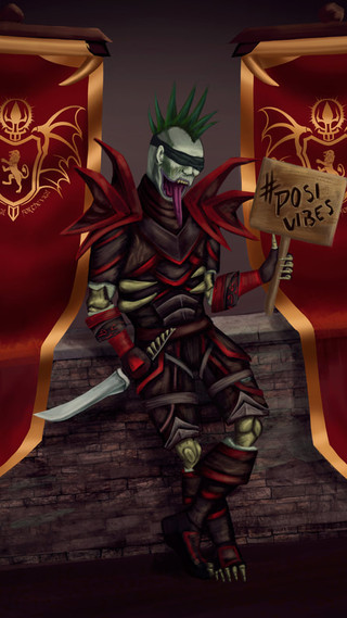 Character art commission with background elements and banners. Included banner design as part of commission. Additional charge for armor.