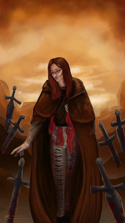 Tarot-inspired character art with symbolic back/foreground elements.