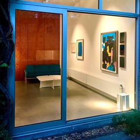 Room 2, works by Filip Collin & Jo Delahat, furniture & lamps by Arne Jacobsen, Bob Van den Berghe & Maija Liisa Komulainen