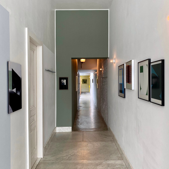Installation view hallway, Johannes Elebaut, Johan Van Oeckel, Walter Leblanc