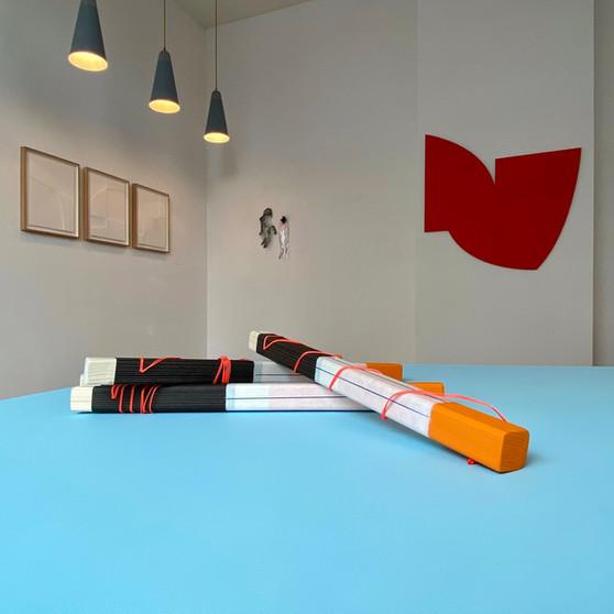 Installation view room 1, Fiona Koene, Hantraxdolls, Johan Van Oeckel and in front multiple by Babette Cooijmans