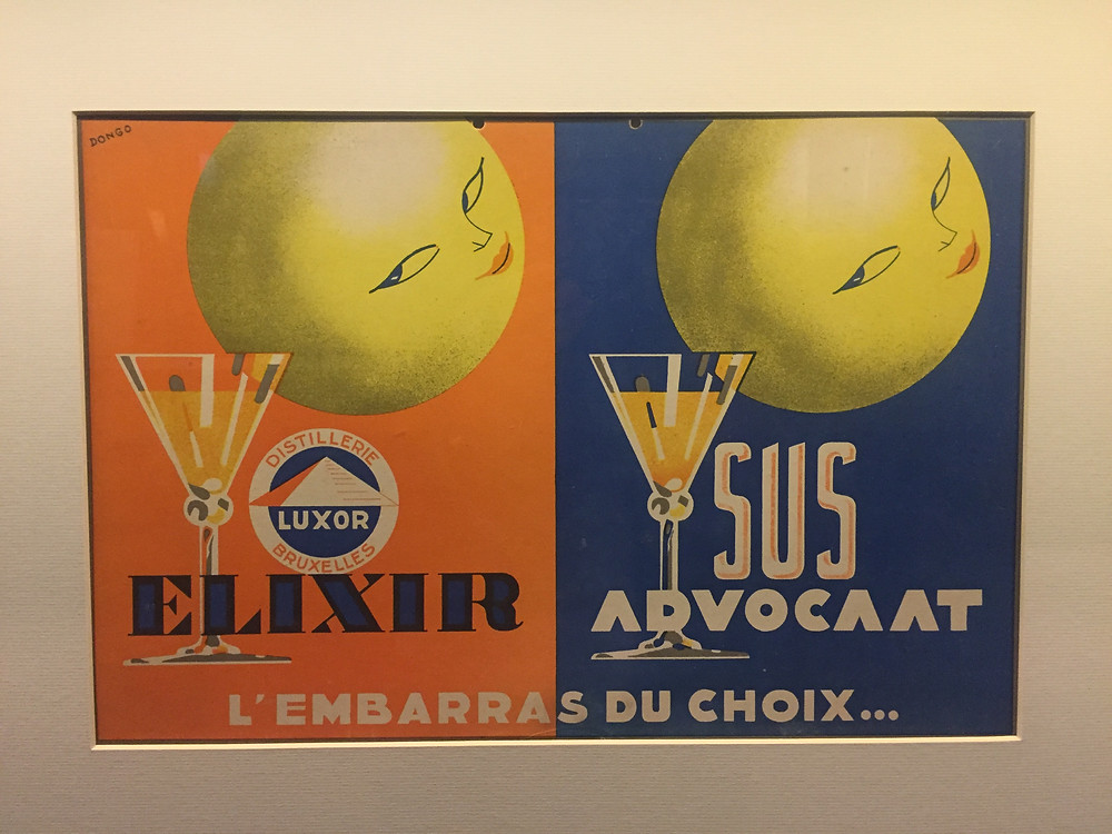 Distillerie Luxor, Bruxelles. Elixir. Sus. Advocaat. L'embarrras du choix, René Magritte, c. 1936, color lithograph on cardboard, Royal Museums of Fine Arts of Brussels. Photo by the author