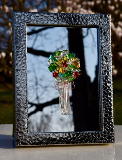 bouquet on hammered silver frame