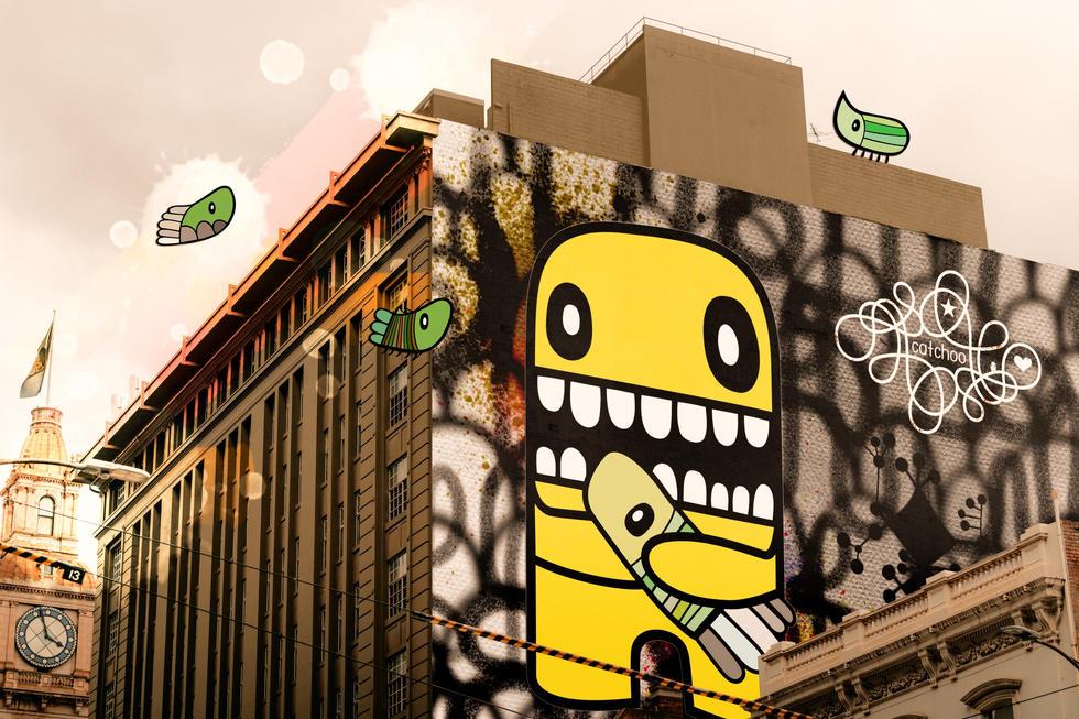 yellow guy on wall