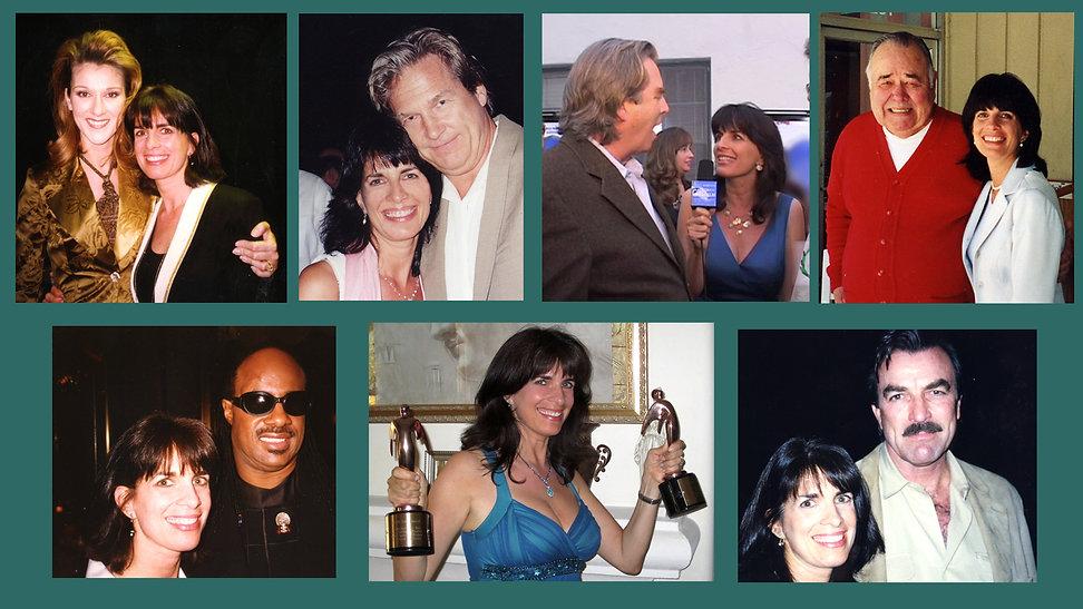Cynthia Daddona with Celine Dion, Jeff Bridges, Beau Bridges, Jonathon Winter, Stevie Wonder and Tom Selleck