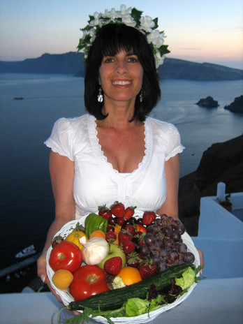 Cynthia Daddona (AphFoodite) on the Greek Island of Santorini, Greece