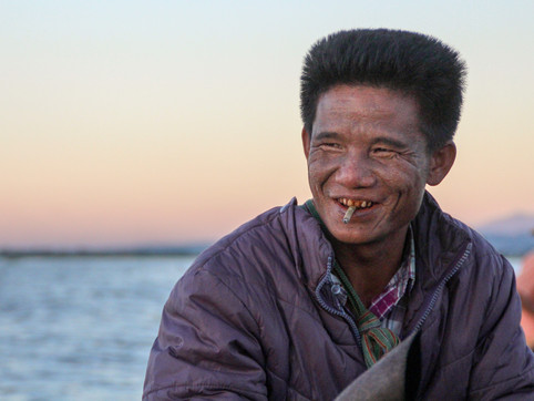 Tourist's boat driver in Inle Lake