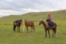 a young girl riding a horse near Song Kol, Kyrgyzstan