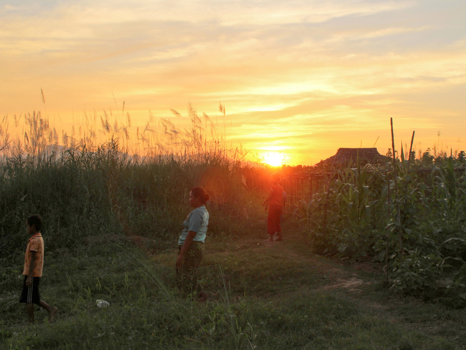 Sunset in Hpa-An's rural area