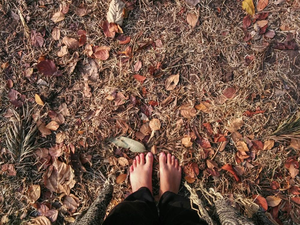 כפות רגליים יחפות דורכות על עלי השלכת