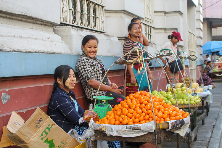 girls laughing in Yangon streets