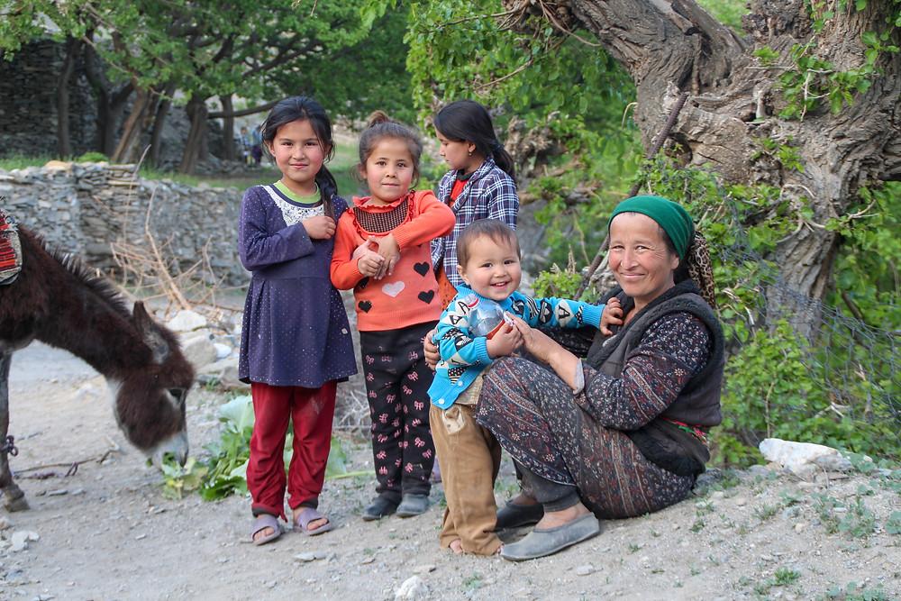 a woman and kids in Sentyab village, Nurata, Uzbekistan