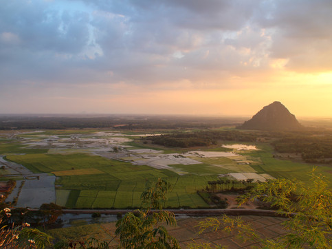 """Viewpoint from the pagoda near Hpa An's """"blue lake"""""""