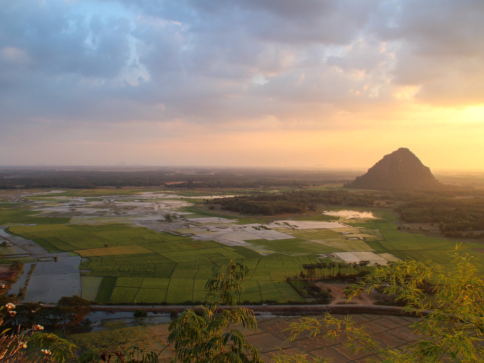 "Viewpoint from the pagoda near Hpa An's ""blue lake"""