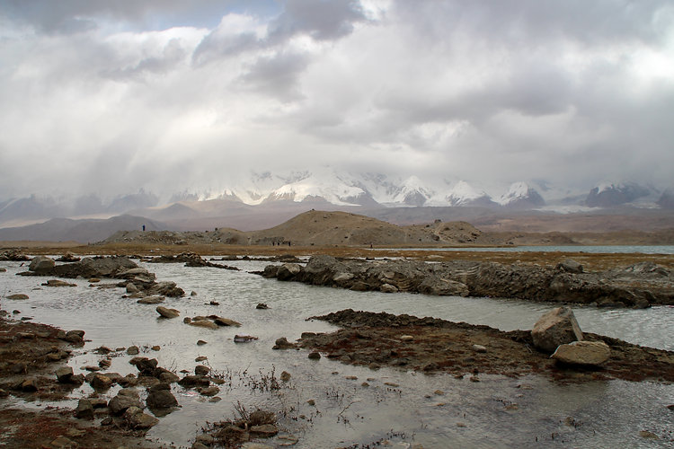 Stormy Karakol lake in China