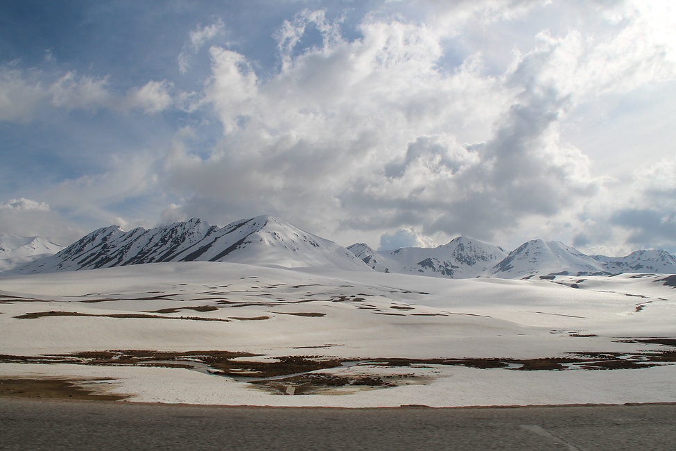 snow on the road, Kyrgyzstan
