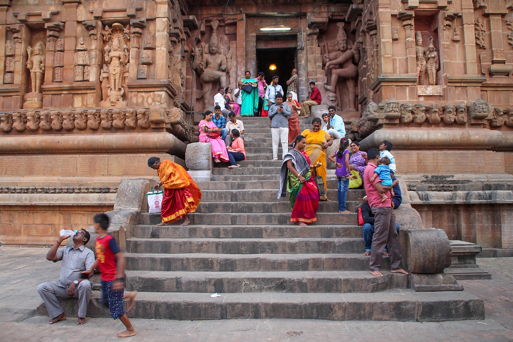 people in Thanjavur temple