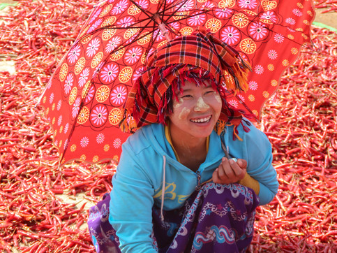 """A woman working in a """"Chilli village"""", on the way from Kalaw to Inle Lake"""