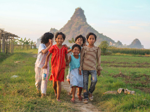 Kids in Hpa An's rural area