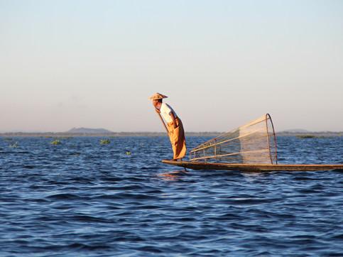 A fisherman in Inle Lake