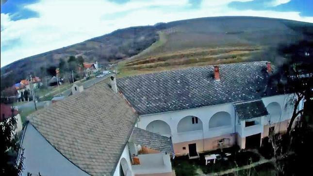 Blick über das Haus zum Weinberg