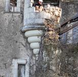 Calepinage et dépose des pierres fendues de l'échauguette le 23 nov 2020.