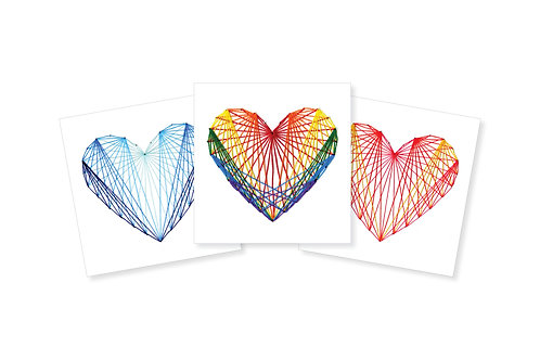 PATTERNED STRING HEART ON WHITE GREETING CARD