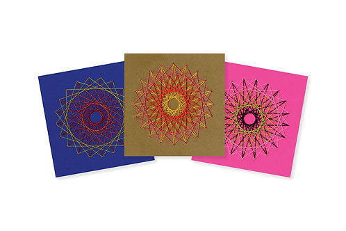 STRING ART SPIRAL ON COLOR GREETING CARD