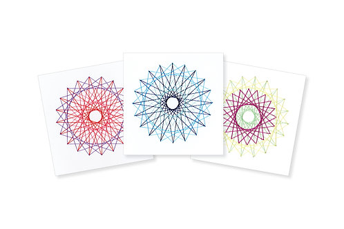 STRING ART SPIRAL ON WHITE GREETING CARD