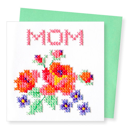 MOTHER'S DAY HAND STITCHED GREETING CARD
