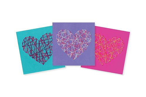 STRING HEART ON COLOR GREETING CARD