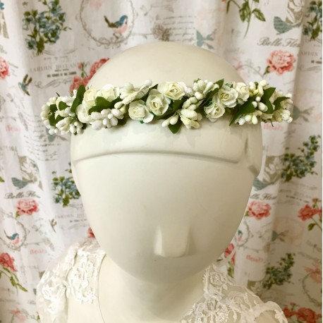 Couronne de fleurs bohème - Ivoire/Blanc
