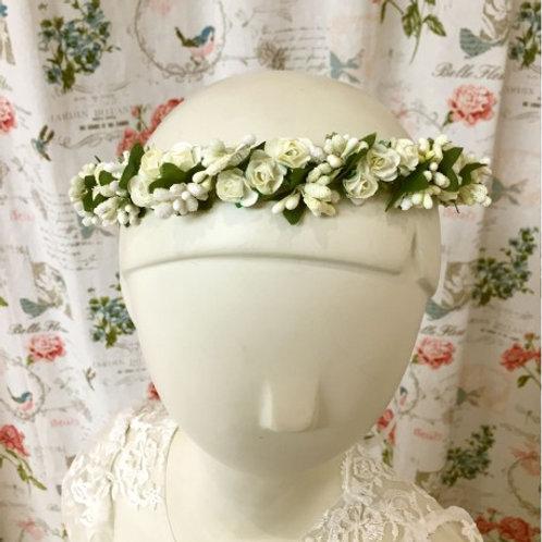 Couronne de fleurs bohème ivoire et blanc