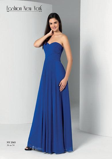 Robe de cocktail longue - NY2565 Couleur Bleu Roi
