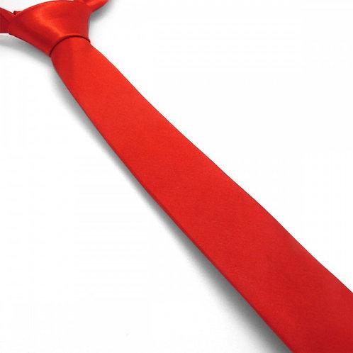 Cravate satin unie slim - Rouge