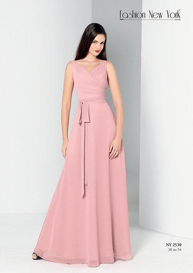 Robe de cocktail longue - NY2530 Couleur Rose Poudré