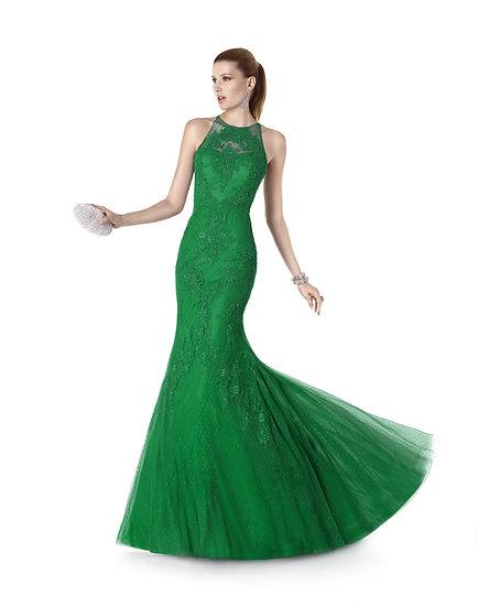 Robe de cocktail longue - 5315 Couleur Verte