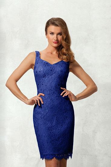 Robe de cocktail courte + Veste - NY2507 Couleur Bleu roi