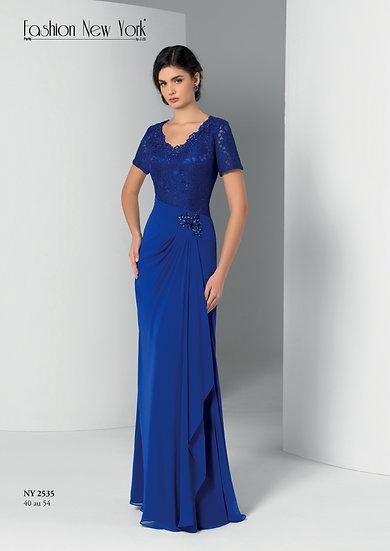 Robe de cocktail longue - NY2535 Couleur Bleu roi