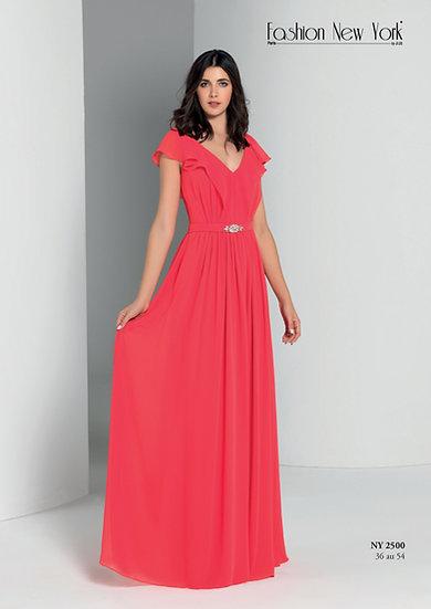 Robe de cocktail longue - NY2500 Couleur Corail