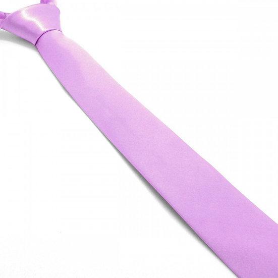 Cravate satin unie slim - Parme