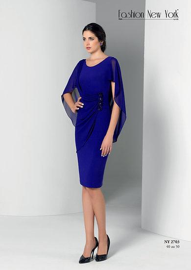 Robe de cocktail courte - NY2703 Couleur Bleu roi