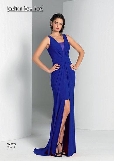 Robe de cocktail longue - NY2774 Couleur Bleu roi